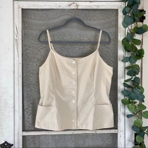 Vintage Liz Sport Button Up Tan Gingham Tank Top